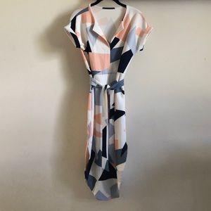 Geometric pattern midi dress